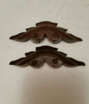"Pair  Antique Victorian Solid Walnut Carved Drawer Pulls Handles 4 X 1""  (27Bgb)"