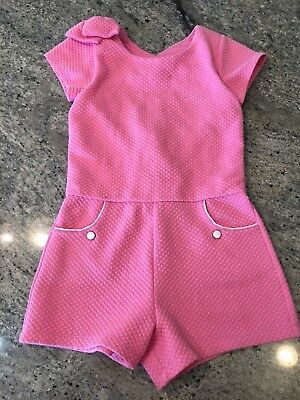 Janie And Jack Girls Pink Romper Size 10 Court Side Prep 2017 Bow