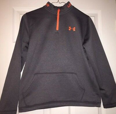 Under Armour boys large Sweatshirt Grey And orange gently used great condition