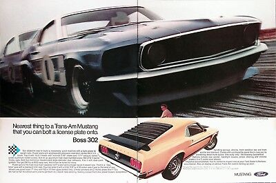 1969 FORD MUSTANG BOSS 302 Genuine Vintage Advertisement ~ TRANS AM BOSS
