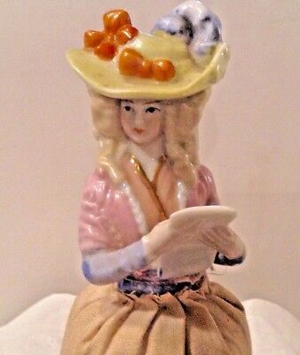 Antique  German Half Doll Pin Cushion  Girl In Hat Reading A Letter Kister?