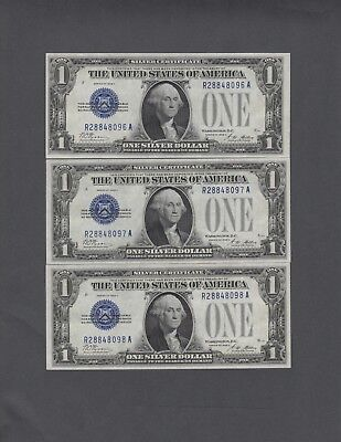 #3 Consecutive 1928A $1.00 Silver Certificates, GEM Uncirculated, NICE!!