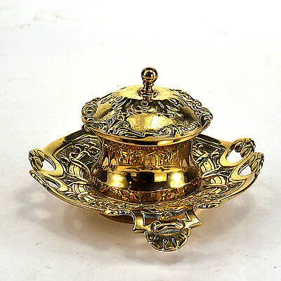 Antique ornate Brass Inkwell with ceramic liner c 1900-1910 great condition
