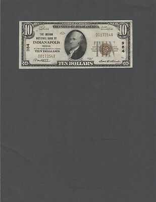 1929 $10.00 Type 1 Indiana NB of Indianapolis, Indiana, Nice VF+