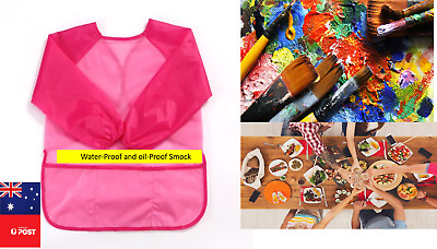 Waterproof kids art smock oilproof painting apron child feeding clothes bib 2-6Y