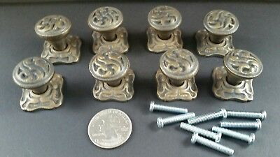 "8 Antique  Ornate Art Nouveau brass knobs, pulls hardware w. 1"" back plate #Z37"