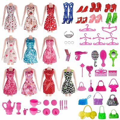 120 Pcs Doll Clothes Lot Party Gown Outfits Barbie Dress Toy Accessories Gift