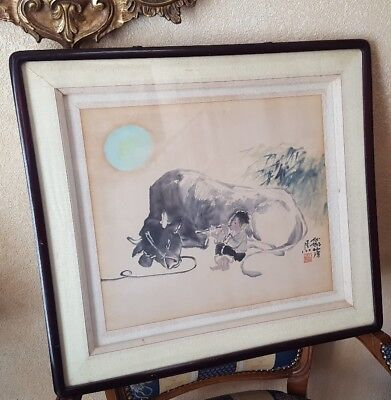 Antique Japanese Painting Watercolor on Paper Signed Seal Mark Child & Bull