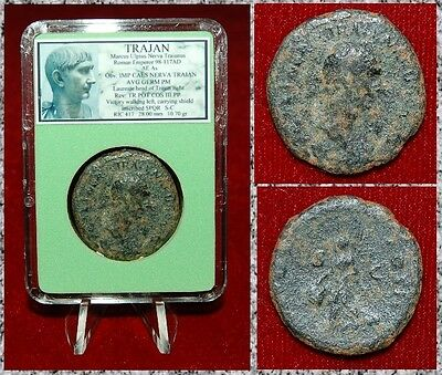 Ancient Roman Empire Coin Of TRAJAN Victory Walking With Shield SPQR