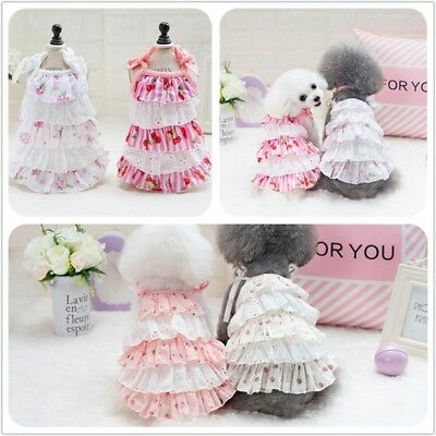 Puppy Dog Cat Dress Small Pet Clothes Aesthetical Multi-layer Cake Skirt Apparel