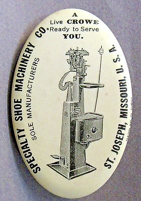 c.1910 SPECIALTY SHOE MACHINERY St. Joseph MISSOURI celluloid pocket mirror *