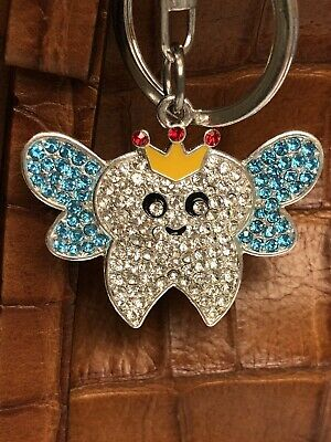 Metal Rhinestone Tooth Fairy Key Ring/Purse Charm/Zipper Pull