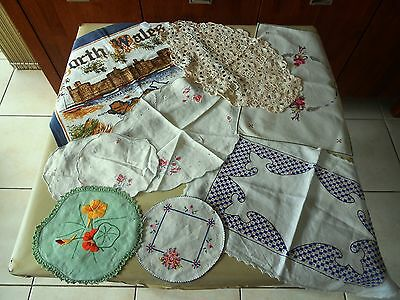 Lot Of 9 X Embroidered & Crochet Doilies Runners And Vintage Wales Tea Towel