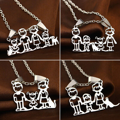 Family Mothers Fathers Gifts Necklace Son Daughter Pet Stainless Steel Pendant