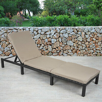 Poly Rattan Sonnenliege MCW A51, Relaxliege Liege, Basic Anthrazit, Kissen  Creme