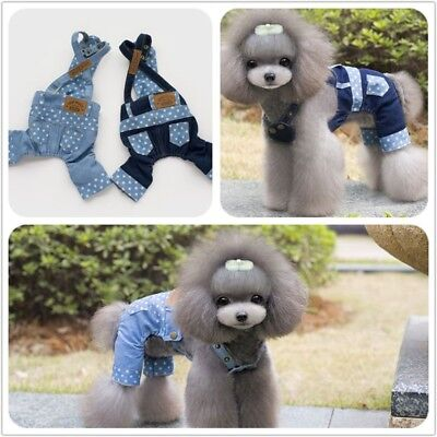 Puppy Dog Cat Jumpsuit Small Pet Clothing Stars jeans Teddy Chihuahua Apparel