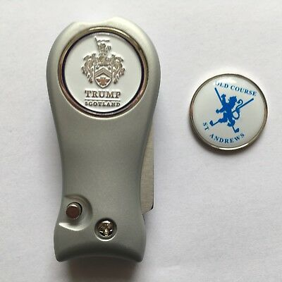 Golf Divot Repair Tool with Old Course St Andrews +Trump Scotland Ball Marker