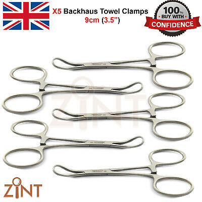 X5 Dental Backhaus Clamp Forceps 9cm Tissue Grasping Holding Bone Fractures Lab