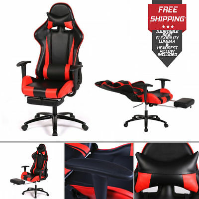 Massage Gaming Chair Ergonomic Swivel Chair High Back Racing Chair With Footrest