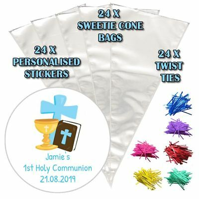 24 Personalised Cross Blue Communion Do It Yourself Sweet Cone Party Bags
