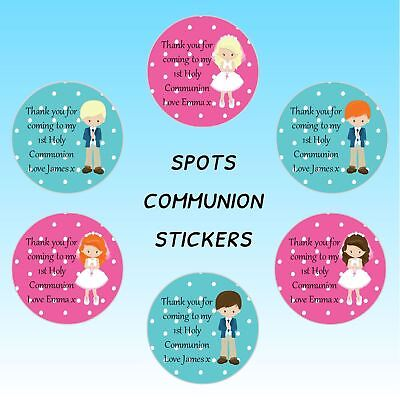 24 Personalised Communion SPOTS Thank You Celebration Stickers Labels Seals
