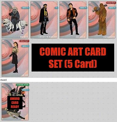 COMIC ART SET 5 CARD CHEWBACCA/QI'RA + AWARD Topps Star Wars Digital Card Trader