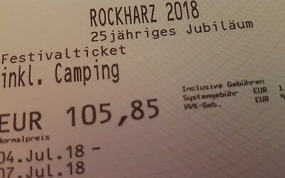 ROCKHARZ FESTIVAL OPENAIR FESTIVAL 04.07.18 bis 07.07.18  TICKETS INKL. CAMPING
