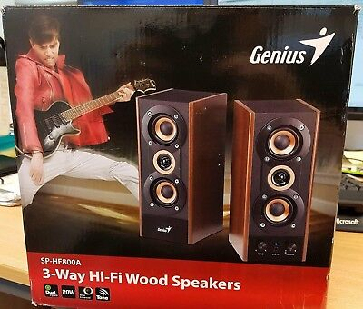 Genius Sp-Hf 800A 2 Channel Wooden Home Audio / Pc 20W Speakers - Clearance
