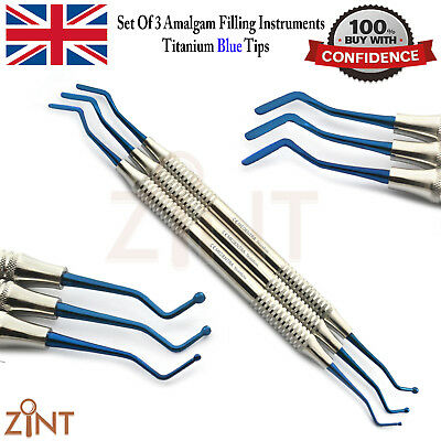 3Pcs Dental Composite Flat Plastic Ball Tips Filling Set With Blue Titanium Tips