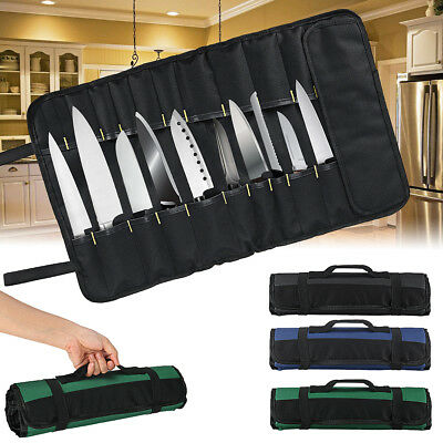 Borsa Porta Coltelli Arrotolabile, 22 Sedi, Nero Roll Bag Storage da cucina