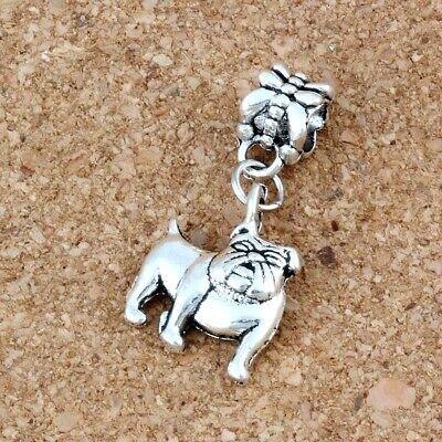 10pcs Dangle Ancient silver Bulldog Charm Big Hole Beads Fit European  Bracelet