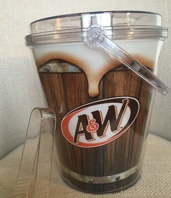 Vintage A&W Logo Root Beer Clear Acrylic/Plastic Ice Bucket With Lid & Tongs EUC