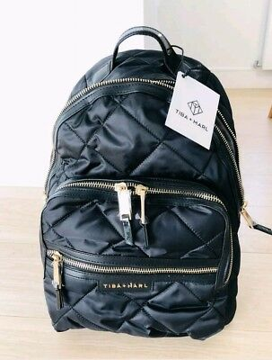 TIBA and MARL ELWOOD quilted black backpack