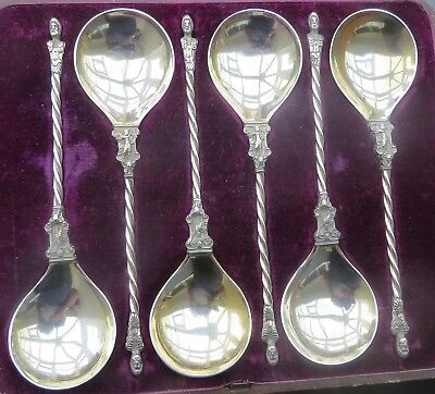 SUPERB SET OF SIX VICTORIAN ENGLISH SILVER ANOINTING SPOONS c.1880