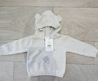 The Little White Company Baby Boys cotton bear face Hoodie