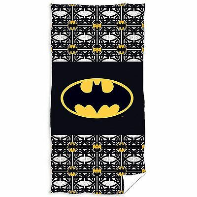 Batman Logo Beach Bath Towel Black 100% Cotton Official Childrens Boys