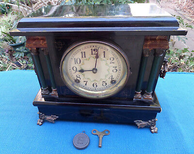 Beautiful Antique Sessions Mantel Clock with Green Columns in Working Condition