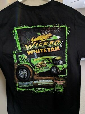 new without tags Wicked Whitetail John Deere tractor pulling t-shirt