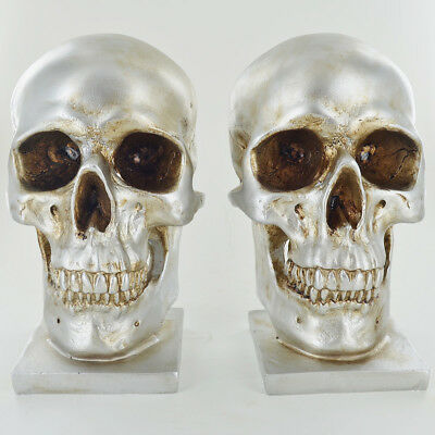 Silver Skull Bookends Heavy Storage Hipster Gothic Alternative Office Gift 39973