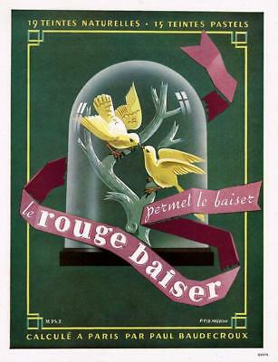 1948 ORIGINAL FRENCH VINTAGE ADVERT PRINT Rouge Baiser Lipstick Cosmetic Ad 706
