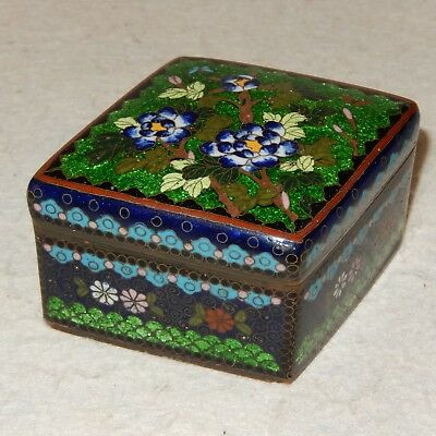 Antique Meiji Period Japanese Cloisonne Goldstone Enamel Box Foil Tea Tobacco