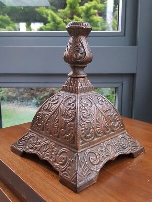 HUGE Antique Victorian Cast Iron Oil Lamp Base 2 Peice Heavy Sharp Casting 22mm