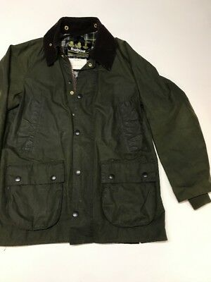 BARBOUR- WAXED COTTON JACKET - 4 FRONT POCKETS- MADE New Zealand C34/86cm