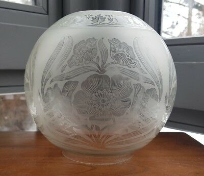 "Original Victorian Art Nouveau Glass Oil Lamp Shade Floral Duplex 4"" Acid Etched"