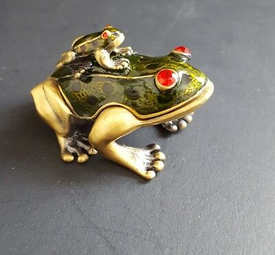 Brass Frog Enameled Hinged Box w/ Baby Frog on Back Jewels