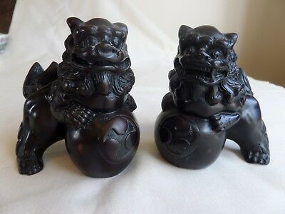 Vintage Brown Coloured Foo Dogs And Ball Figurines Pair, Resin?