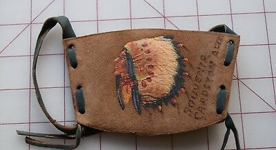 Vintage Leather souvenir purse, hand painted Indian in feather headdress