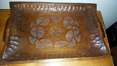 carved wooden tray vintage treen tray