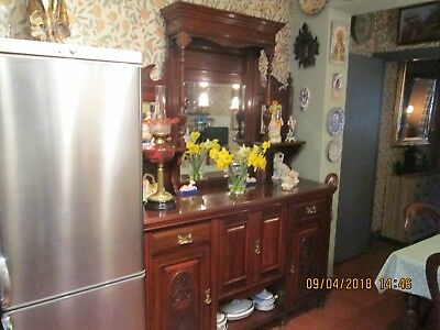 An Antique Solid Mahogany Mirrored Back Dresser Sideboard ~Delivery Available~