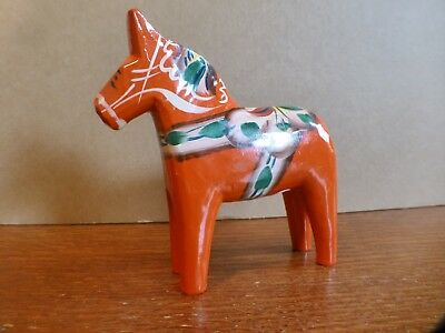 Carved Swedish DALA Horse Wooden Folk Art ORANGE Hand Painted Nils Olsson/Signed